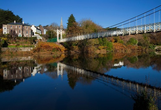 Daly's Suspension Bridge Over The River Lee; Cork City County Cork Ireland : Stock Photo