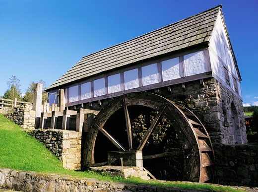 Stock Photo: 1812-2193 Plantation Water Wheel, Ulster History Park, Omagh,Co.Tyrone, Ireland.