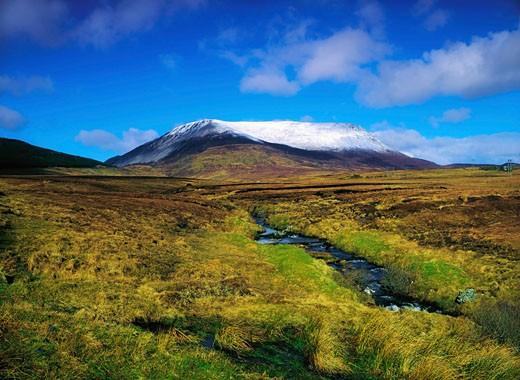 Irish Winter Scenes, CO Donegal - Muckish Mountains, And Owenragreeve River : Stock Photo