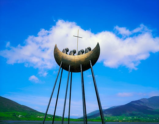 Stock Photo: 1812-2694 St. Brendan sculpture, Cahirciveen, Ring of Kerry, Co Kerry, Ireland