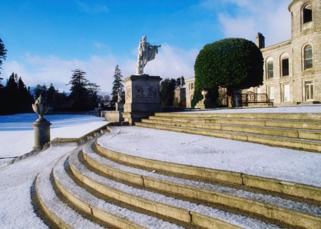 Irish Snow Scenes, Co Wicklow, Powerscourt Gardens : Stock Photo