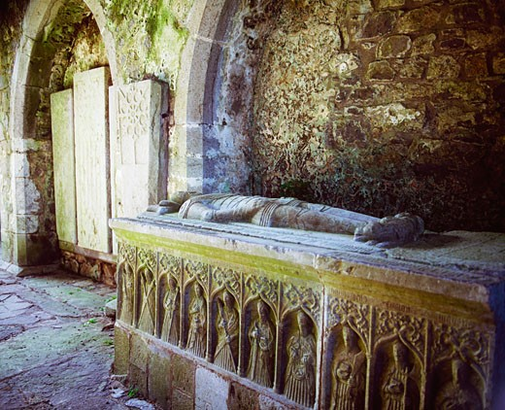 Stock Photo: 1812-4262 Ancient Abbeys  1200 ad, Kilcooley Abbey Co Kilkenny, Effigy of the Butler Family