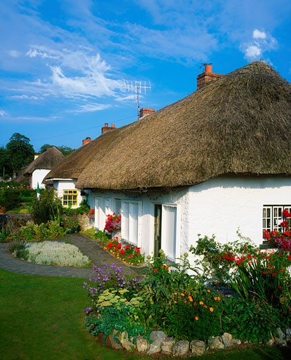 Thatched Cottages, Adare, Co Limerick, Ireland : Stock Photo