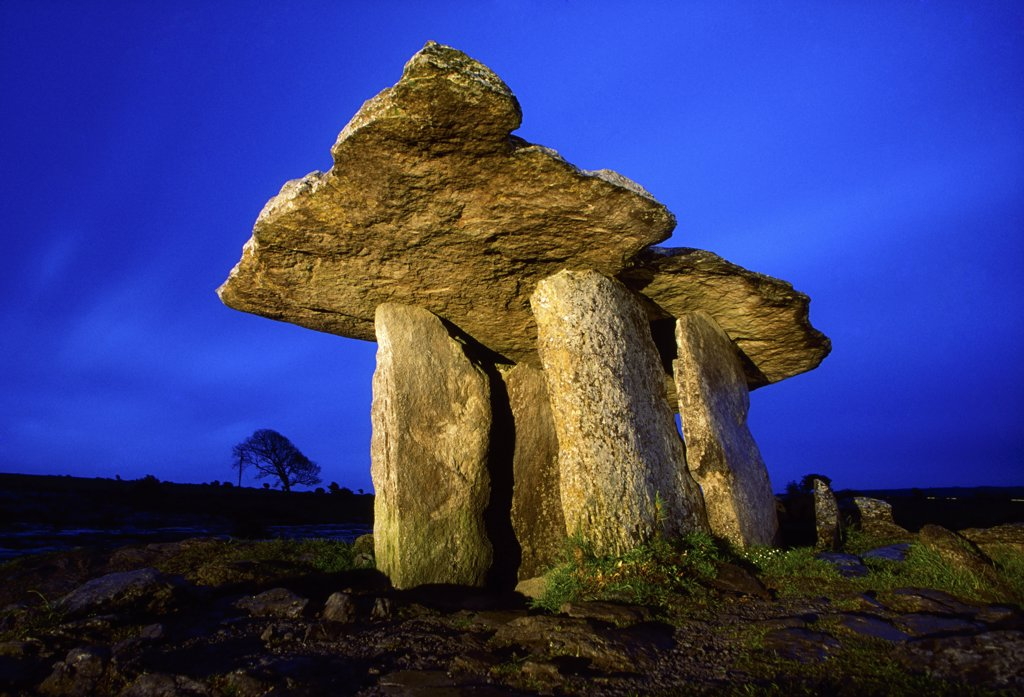 The Burren, County Clare, Ireland; Poulnabrone Dolmen : Stock Photo