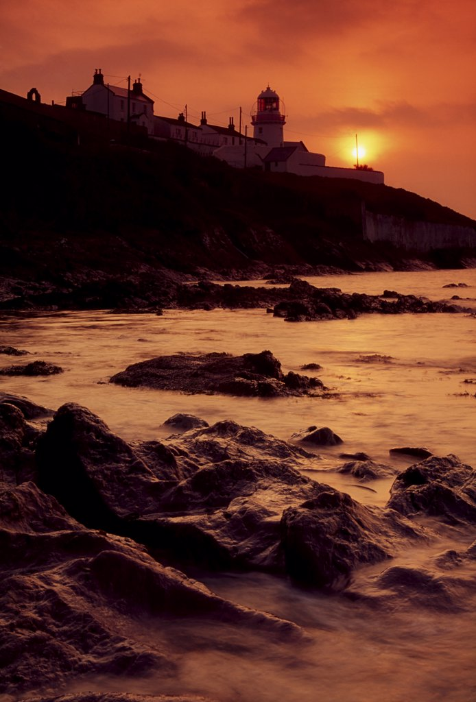Roches Point, Whitegate, Cork Harbour, County Cork, Ireland; Lighthouse and seascape : Stock Photo