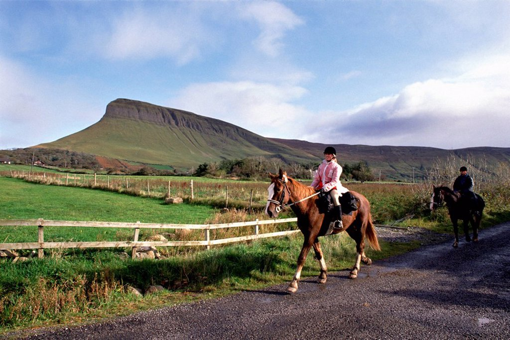 Stock Photo: 1812-6303 Two people horseback riding, Ballindoon, County Sligo, Republic Of Ireland