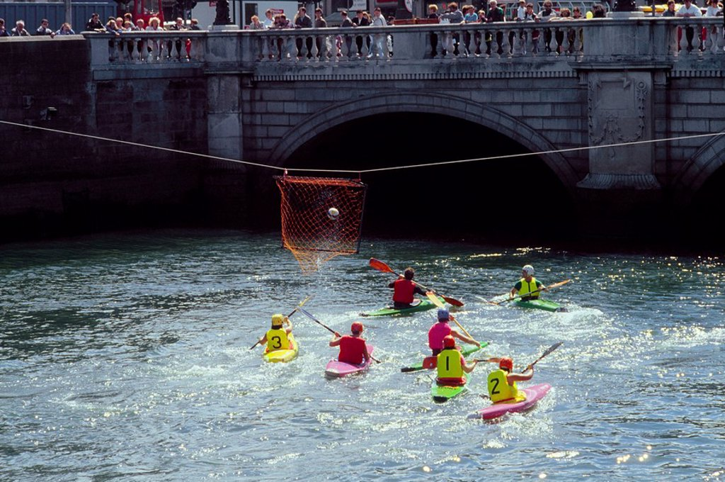 Stock Photo: 1812-6475 The Liffey, Dublin, Co Dublin, Ireland, People kayaking on a river