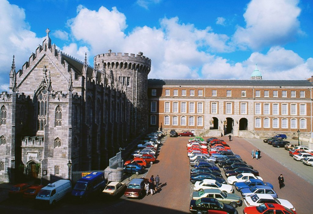 Stock Photo: 1812-6479 Church Of The Most Holy Trinity, Dublin Castle, Dublin, Co Dublin, Ireland, 19th Century church and castle