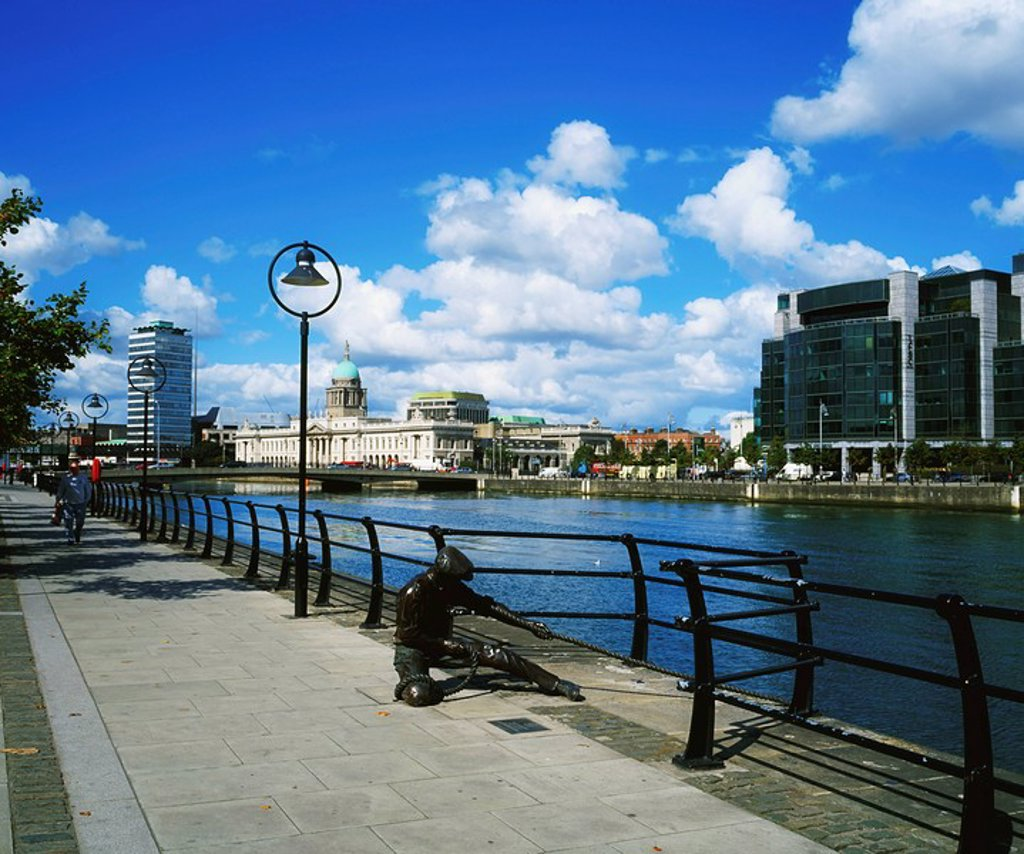 Stock Photo: 1812-6540 International Financial Service Centre, Dublin, Co Dublin, Ireland, Custom House and River Liffey