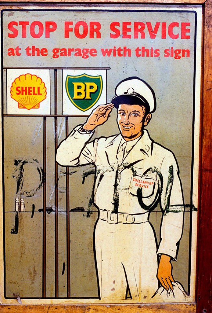 Stock Photo: 1812-7052 Advertisement for a Petrol Station, Vintage advertisements