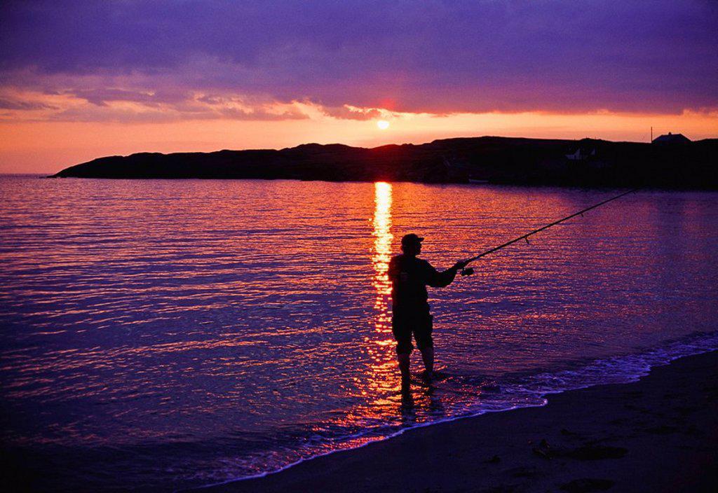 Stock Photo: 1812-7199 Beara Peninsula, Co Kerry, Ireland, Man sea fishing in a peninsula