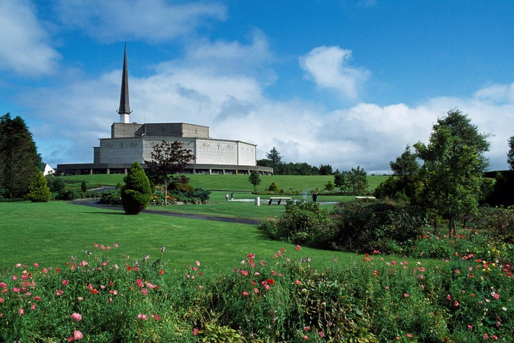 Stock Photo: 1812-7438 Basilica Of Our Lady Of Ireland,Knock,Co Mayo,Ireland,View of church