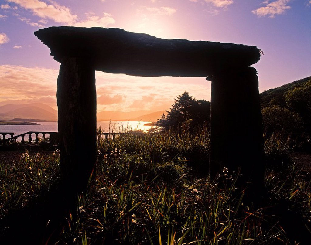 Stock Photo: 1812-7543 Modern Sculpture of a Dolmen at Glanleam House in Ireland