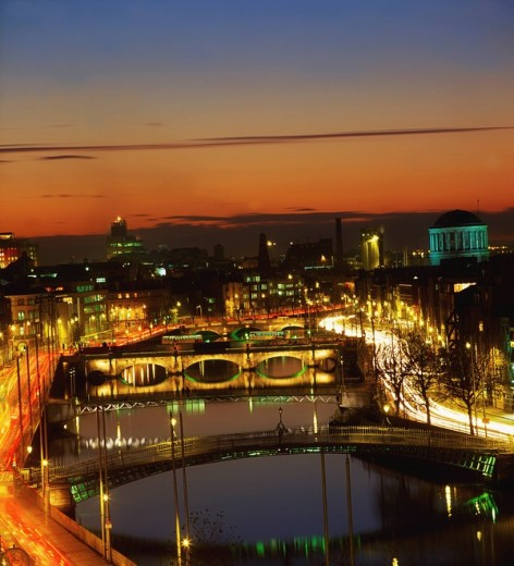 Stock Photo: 1812-7786 Dublin, Co Dublin, Ireland, View of the River Liffey at nighttime