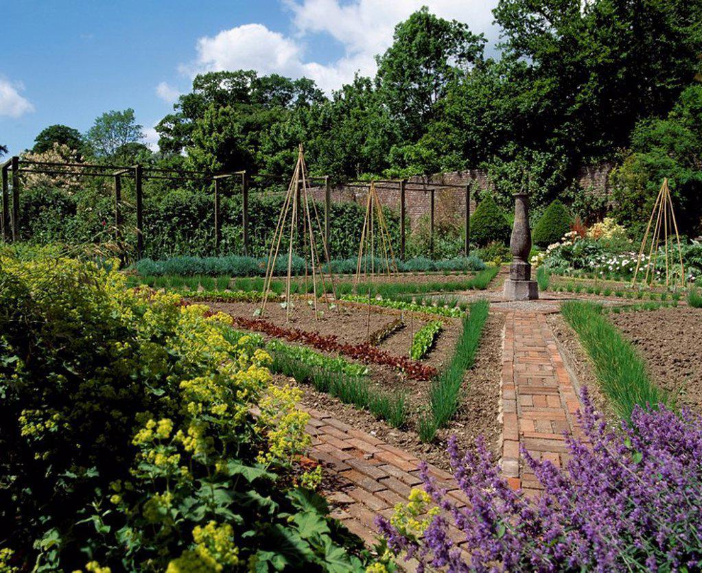 Lodge Park Walled Garden, Straffan, Co Kildare, Ireland, Potager in a walled garden : Stock Photo