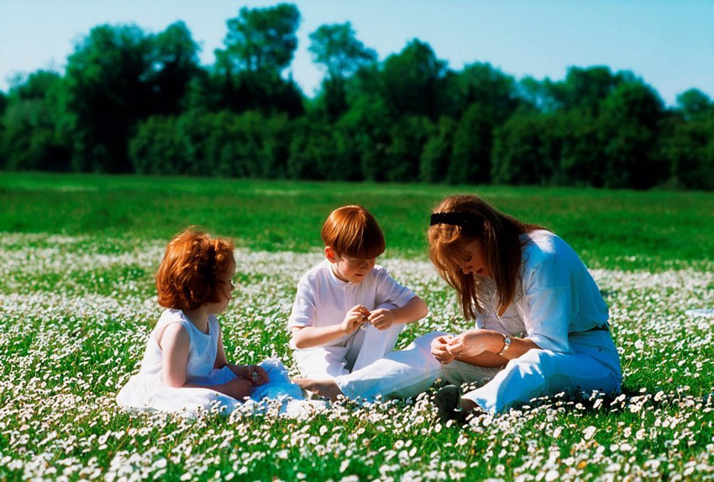 Stock Photo: 1812-8323 Mother making daisy chains with her children