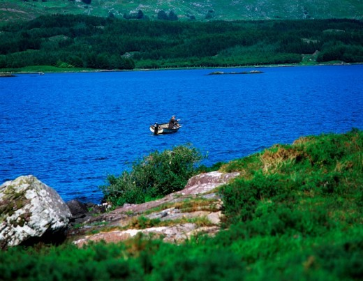 Lough Currane, Ring of Kerry, Co Kerry, Ireland, Angler : Stock Photo