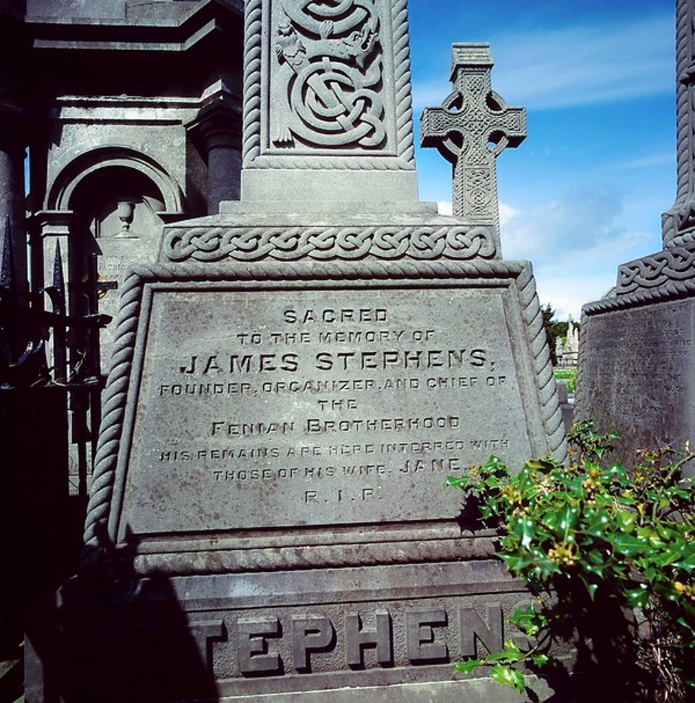 Stock Photo: 1812-8658 Headstone of James Stephens, Glasnevin Cemetery, Dublin, Co Dublin, Ireland, founding member of the Fenian movement