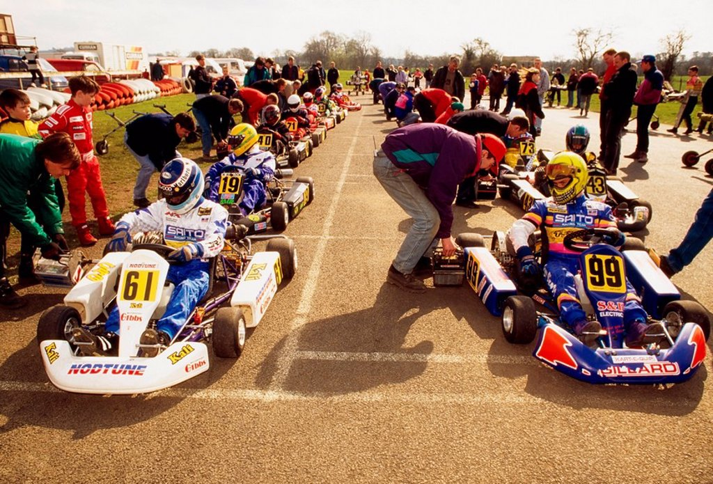 Stock Photo: 1812-9201 Nutts Corner, Co Antrim, Ireland, Go Kart Racing