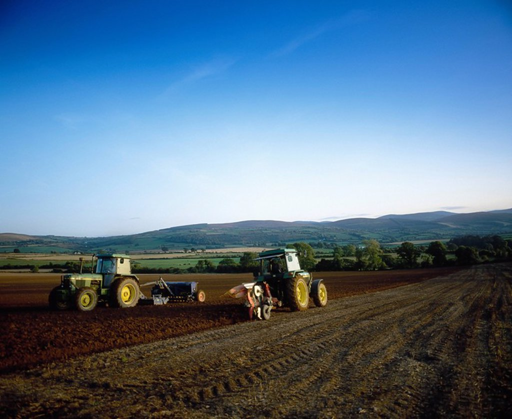 Co Tipperary, Ireland, Ploughing a field : Stock Photo