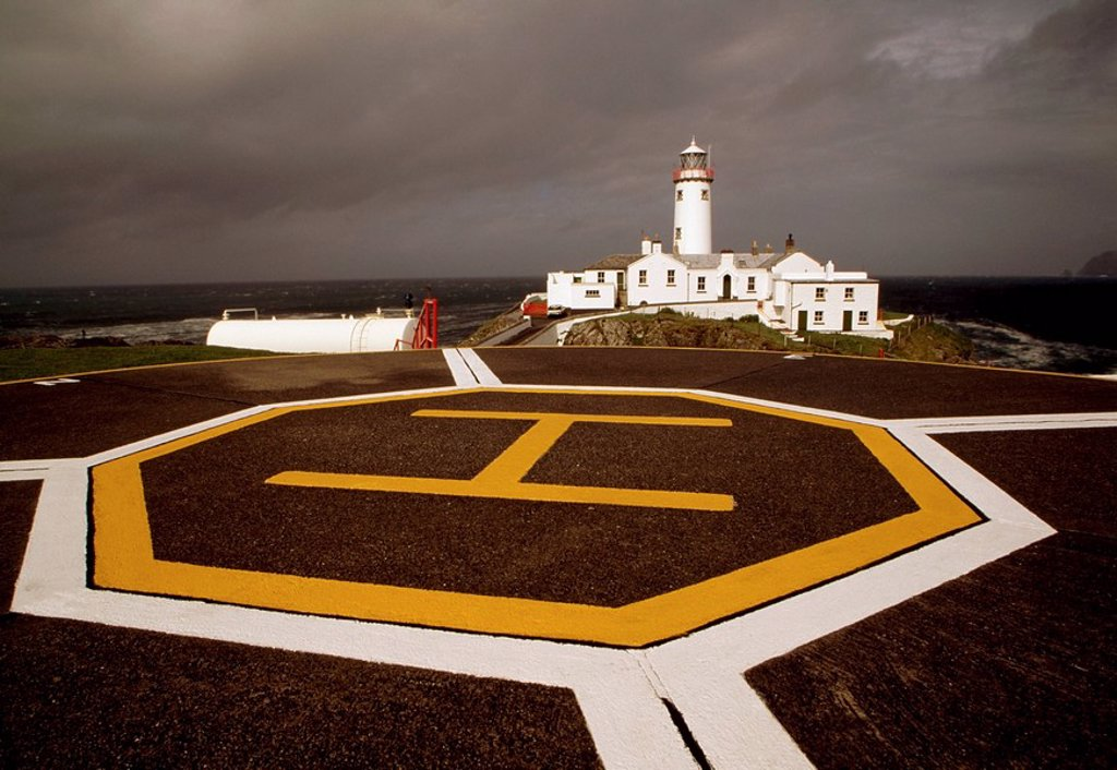 Stock Photo: 1812-9469 Fanad Head Lighthouse, Helipad, County Donegal, Ireland.