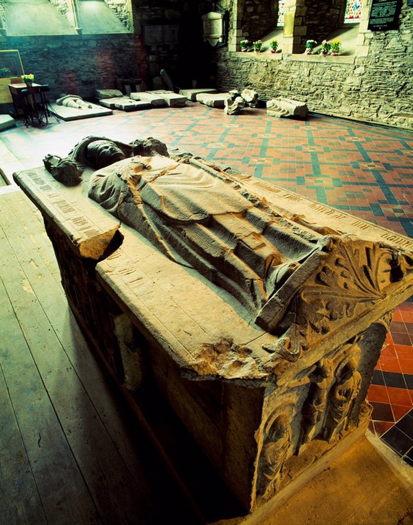 Stock Photo: 1812-9697 St. Brigid´s Cathedral, Kildare, Co Kildare, Ireland, Tombstones in a 13th Century cathedral