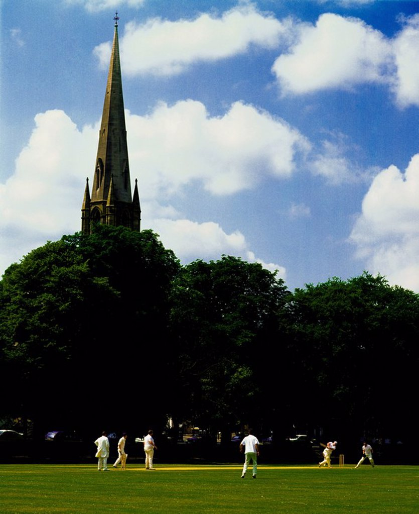 Stock Photo: 1812-9705 Armagh City, Co Armagh, Northern Ireland, Cricket match in the mall