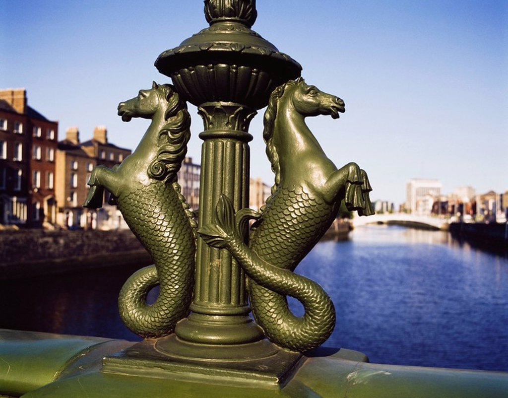 Stock Photo: 1812-9810 Grattan Bridge, River Liffey, Dublin City, Ireland, Seahorse detail on Irish bridge