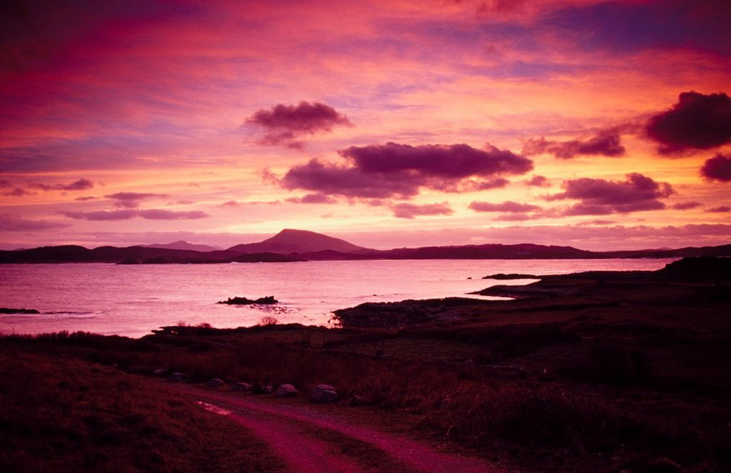 Stock Photo: 1812-9906 Looking across Sheephaven Bay at sunset towards Muckish Mountain, County Donegal, Ireland
