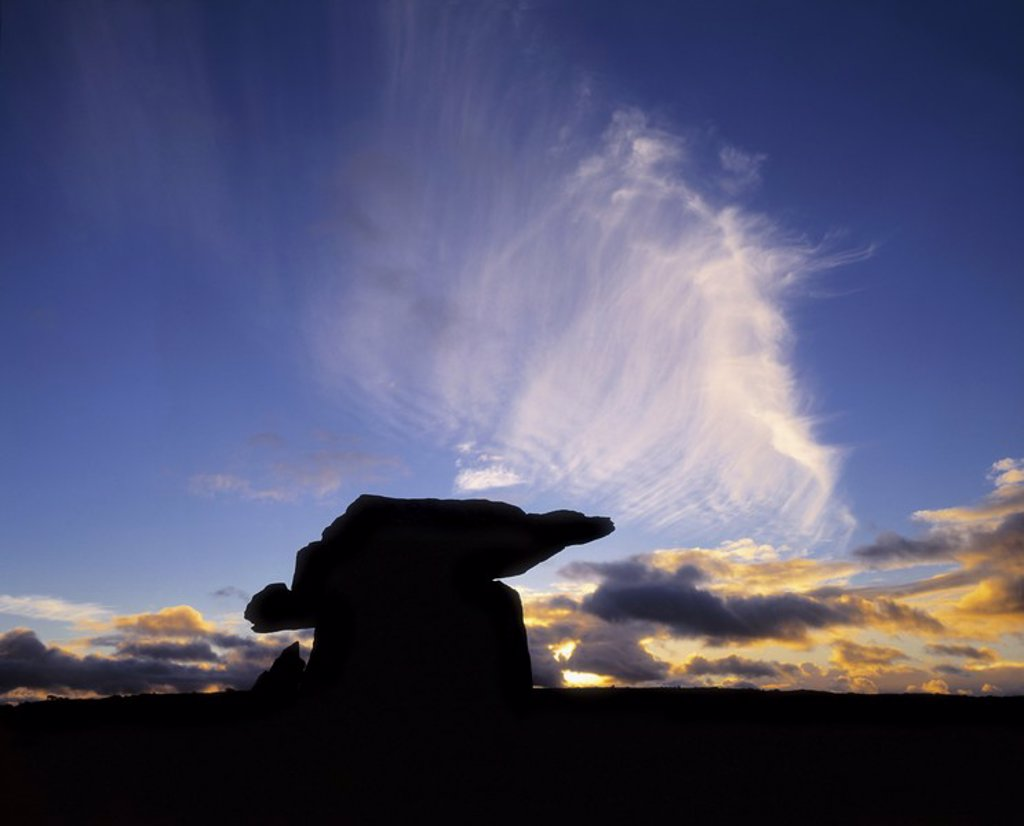Stock Photo: 1812R-13022 Clouds over Poulnabrone Dolmen, The Burren, Co Clare, Ireland