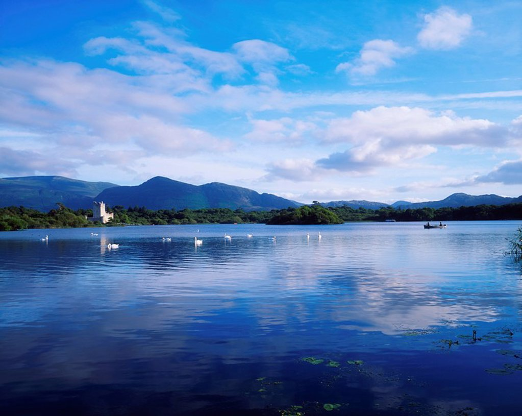 Stock Photo: 1812R-13841 Killarney, Co Kerry, Lough Leane with Ross Castle in the distance, Ireland