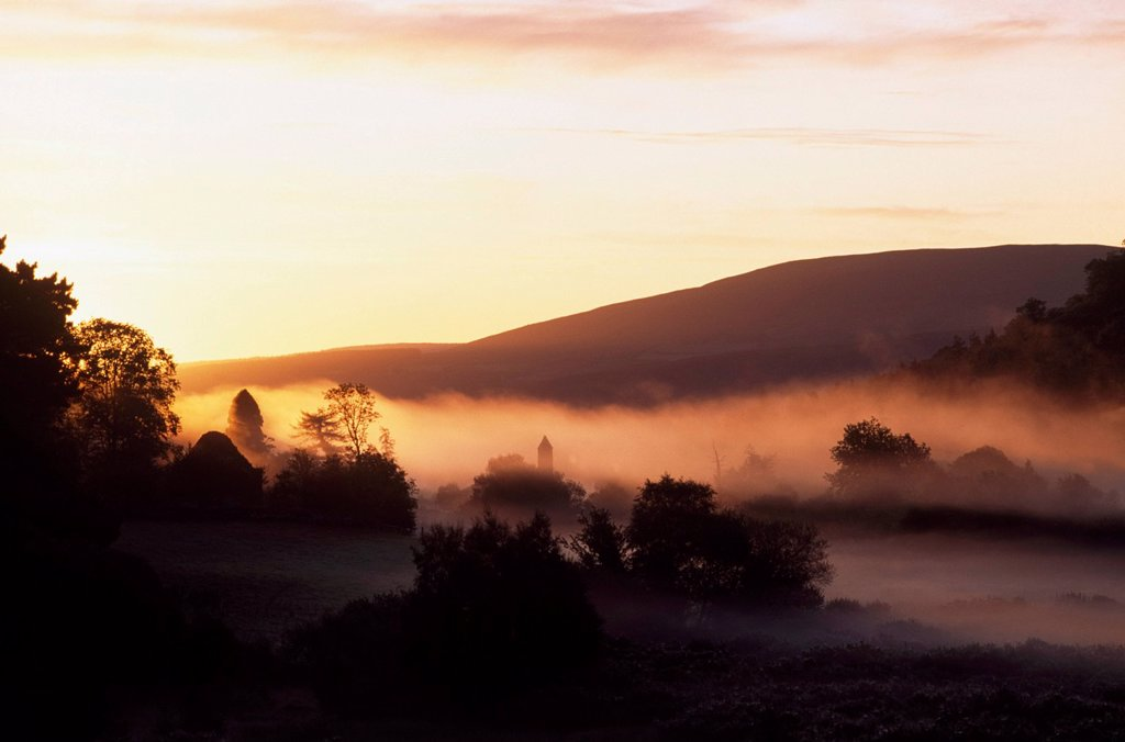 Stock Photo: 1812R-14956 Early Morning Mist, Glendalough, Co Wicklow, Ireland