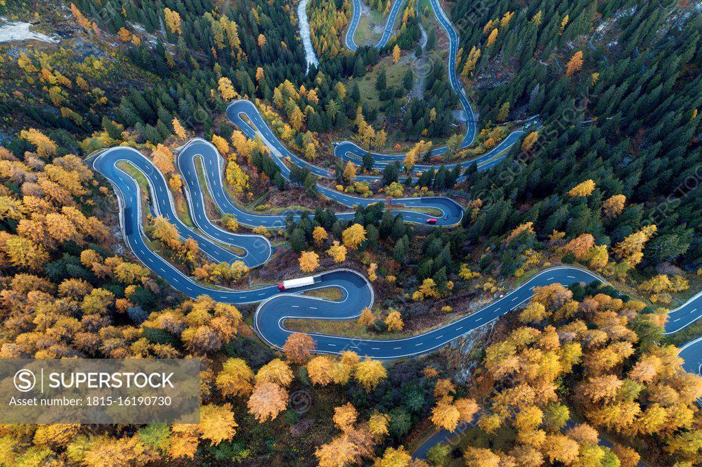 Stock Photo: 1815-16190730 Switzerland, Canton of Grisons, Saint Moritz, Drone view of Maloja Pass in autumn