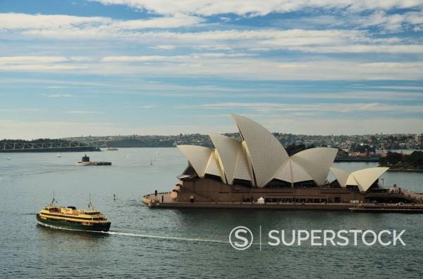 Stock Photo: 1815-107490 Australia, New South Wales, Sydney, View of Sydney Opera House with ship