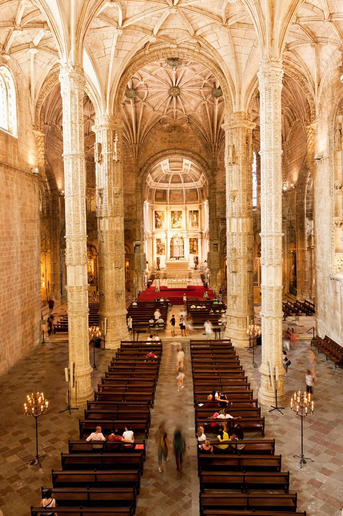 Europe, Portugal, Lisbon, View of interior of Hieronymites Monastery : Stock Photo