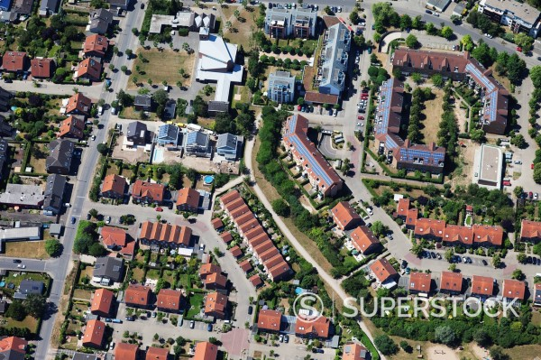 Europe, Germany, North Rhine_Westphalia, Cologne, Hochkirchen, Aerial view of solar systems on roofs of housing estate : Stock Photo
