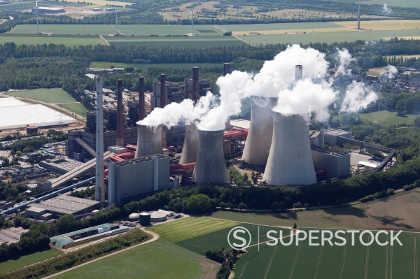 Europe, Germany, North Rhine_Westphalia, Neurath, Aerial view of lignite surface mining power plant : Stock Photo