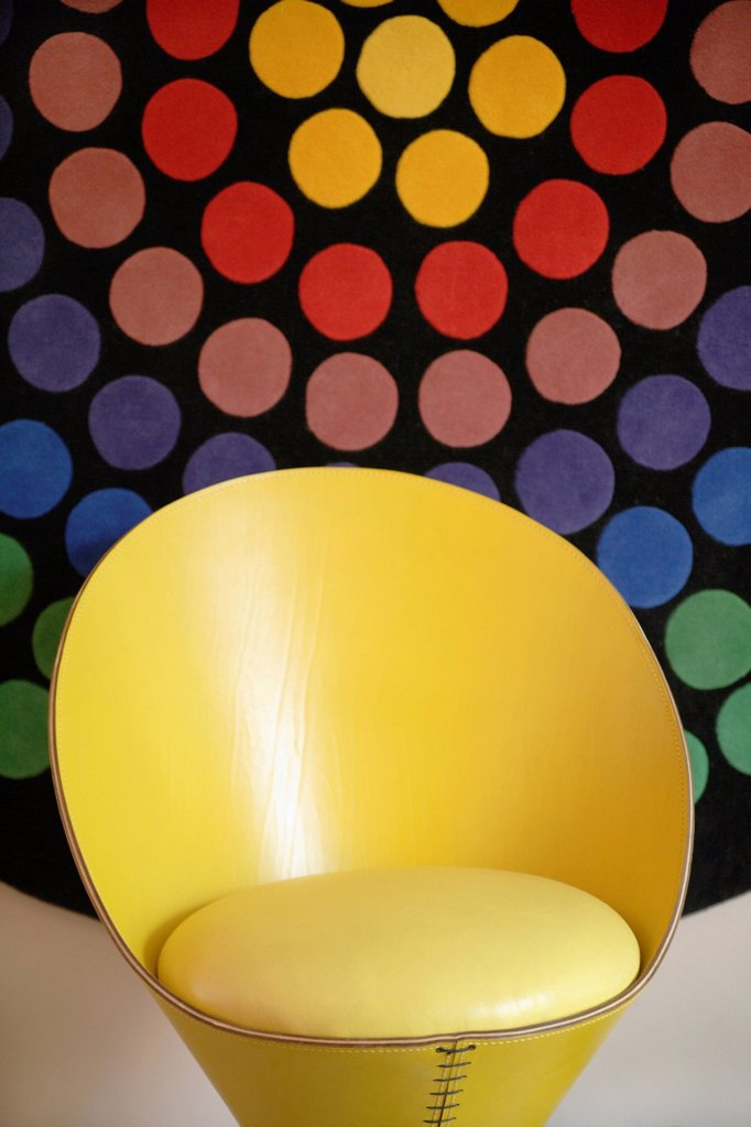 Stock Photo: 1815-107972 Germany, Upper Bavaria, Munich, Designed chair in new house with multicoloured background