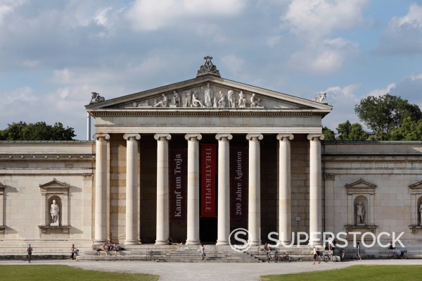 Germany, Bavaria, Upper Bavaria, Munich, View of Koenigsplatz square with Glyptothek museum : Stock Photo