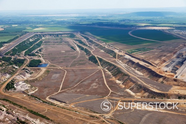 Europe, Germany, North Rhine_Westphalia, Garzweiler, Aerial view of lignite surface mining : Stock Photo