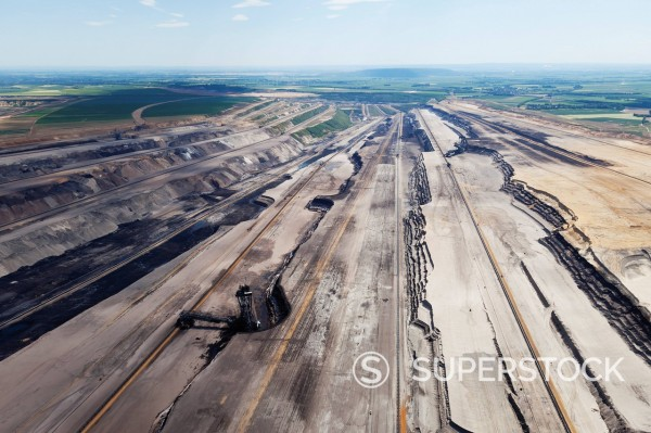 Europe, Germany, North Rhine_Westphalia, Garzweiler, Aerial view of spreader at lignite surface mining : Stock Photo