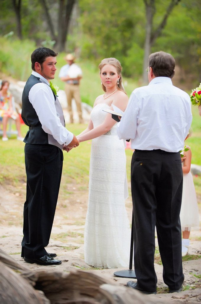 USA, Texas, Bride and groom getting married : Stock Photo