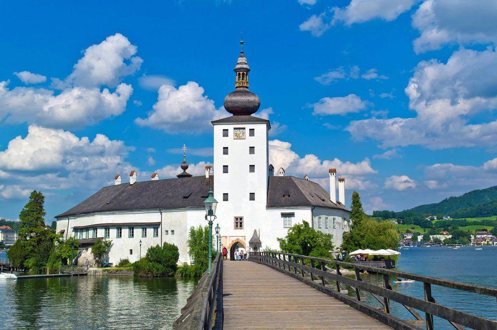 Austria, Upper Austria, View of Castle Ort : Stock Photo