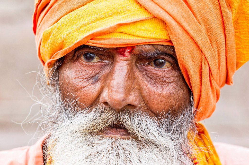 India, Uttar Pradesh, Close up of shiva sadhu : Stock Photo