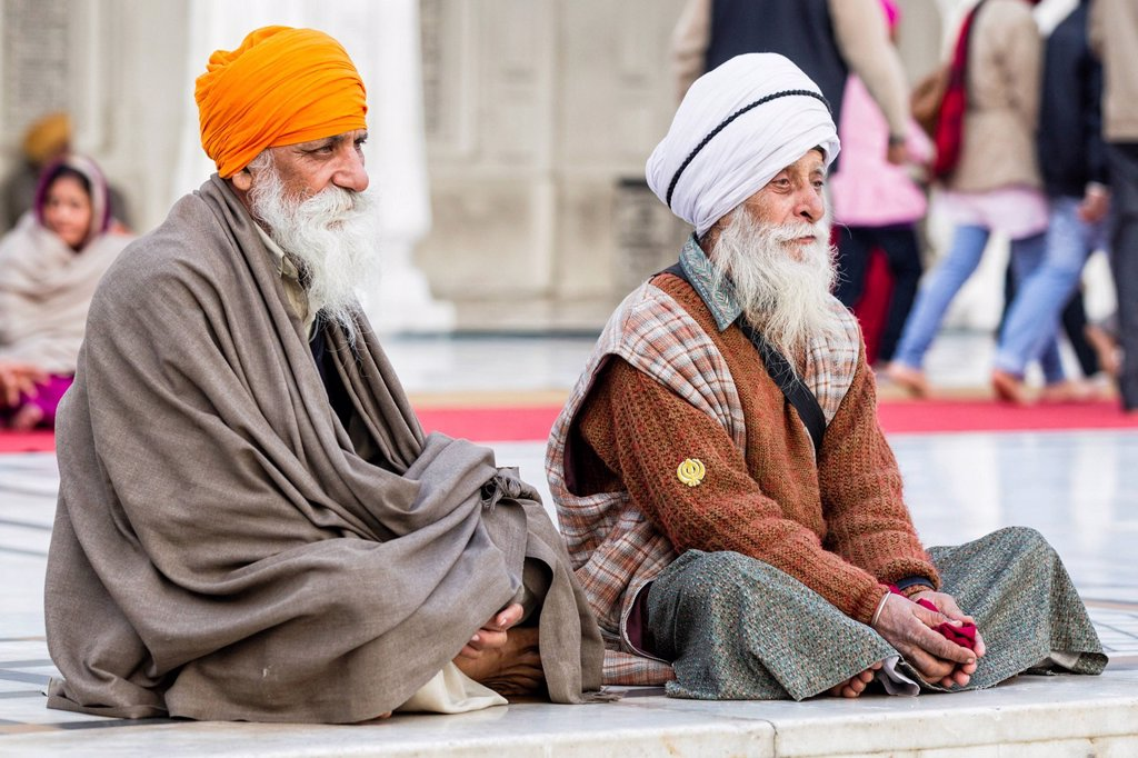 India, Punjab, Amritsar, Two Sikh senior men with turban : Stock Photo