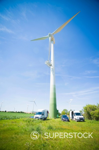 Stock Photo: 1815-110256 Germany, Saxony, View of wind turbine in wind park
