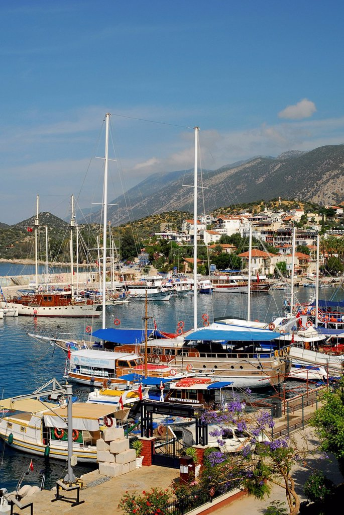 Turkey, Antalya, Sailing boats in harbour of Kas : Stock Photo