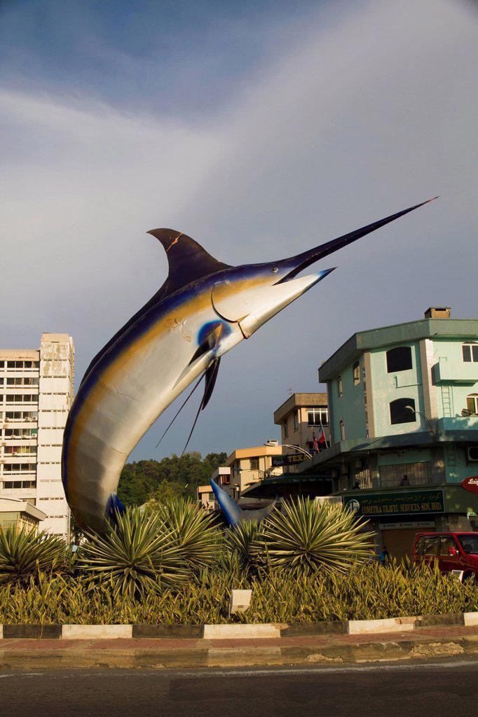 Malaysia, Borneo, Statue of marlin in Kota Kinabalu : Stock Photo