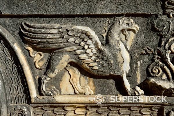 Turkey, Marble decoration on Apollon temple : Stock Photo