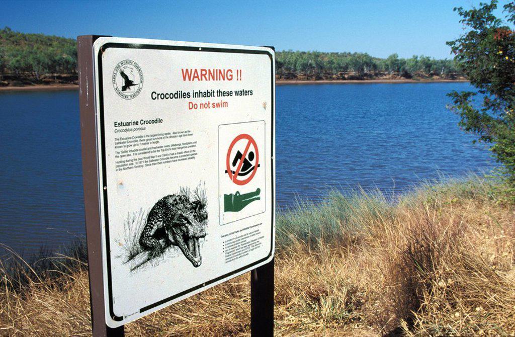 Crocodile Warning, Australia, Northern Territories : Stock Photo